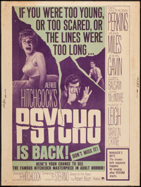 "Psycho (Paramount, R-1965). Poster (30"" X 40""). Hitchcock"