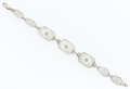 Estate Jewelry:Bracelets, Rock Crystal Quartz, Diamond, Silver, White Gold Bracelet. ...