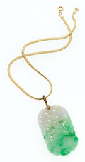 Estate Jewelry:Necklaces, Jadeite Jade, Metal, Gold Filled Necklace. ...