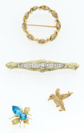 Estate Jewelry:Brooches - Pins, Diamond, Multi-Stone, Gold Brooches. ... (Total: 4 Items)