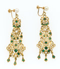 Estate Jewelry:Earrings, Cultured Pearl, Emerald, Gold Earrings. ...