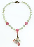 Estate Jewelry:Necklaces, Aquamarine, Pink Tourmaline, Seed Pearl, Silver Necklace. ...