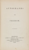 Books:Americana & American History, [Frederick Douglass, contributor]. [Julia Griffiths, editor].Autographs For Freedom. Boston: John P. Jewett and Com...
