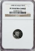 Modern Bullion Coins: , 1998-W P$10 Tenth-Ounce Platinum Eagle PR70 Ultra Cameo NGC. NGCCensus: (463). PCGS Population (87). Mintage: 19,919. Numi...