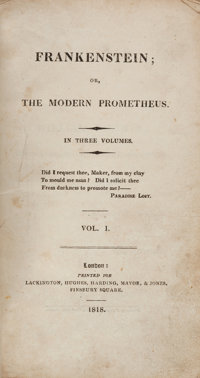 [Mary Shelley]. Frankenstein; or, the Modern Prometheus. London: Printed for Lackington, Hughes
