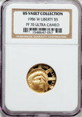 Modern Issues, 1986-W G$5 Statue of Liberty Gold Five Dollar PR70 Ultra Cameo NGC. Ex: U.S. Vault Collection. NGC Census: (3545). PCGS Pop...