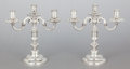 Silver Holloware, Continental:Holloware, A PAIR OF EMILE PUIFORCAT FRENCH SILVER-PLATED THREE-LIGHTCANDELABRA. Emile Puiforcat, Paris, France, first half 20thcentu... (Total: 2 Items)