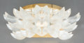 Decorative Arts, French:Lamps & Lighting, A LALIQUE FROSTED GLASS AND GILT WALL SCONCE. Post 1945. Marks:LALIQUE, FRANCE. 8-1/2 x 14-1/2 x 5-3/4 inches (21.6 x 3...(Total: 6 Items)