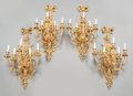 Decorative Arts, French:Lamps & Lighting, FOUR LOUIS XV-STYLE GILT BRONZE FIVE-LIGHT SCONCES. 20th century.29 x 34-1/2 x 12-1/4 inches (73.7 x 87.6 x 31.1 cm). ... (Total: 4Items)