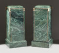 Decorative Arts, French:Other , A PAIR OF LOUIS XVI-STYLE GREEN MARBLE PEDESTALS WITH GILT BRONZEMOUNTS. 20th century. 31-1/2 x 14-1/4 x 14-1/4 inches (80....(Total: 2 Items)