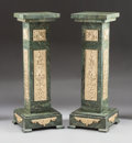 Decorative Arts, French, A PAIR OF LOUIS XVI-STYLE MARBLE PEDESTALS WITH BRONZE PLAQUEINSETS. 20th century. 43-1/4 x 16 x 16 inches (109.9 x 40.6 x ...(Total: 2 Items)