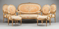 Furniture : French, A NAPOLEON III FIVE PIECE GILT WOOD SALON SET WITH AUBUSSONTAPESTRY. 19th century. 43 x 56 x 28 inches (109.2 x 142.2 x 71....(Total: 5 Items)