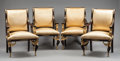 Furniture , A SET OF FOUR FRENCH EMPIRE-STYLE EBONIZED AND GILT BRONZE MOUNTED ARM CHAIRS. Second half 20th century. 40 x 27-1/2 x 23 in... (Total: 4 Items)