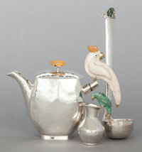 AN EMILIA CASTILLO MEXICAN SILVER-PLATED AND HARDSTONE MOUNTED TEA POT, CREAMER AND LADLE Circa 1990 Marks: