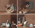 Fine Art - Painting, European:Antique  (Pre 1900), ALSATIAN/FRENCH SCHOOL (19th Century) . Miniature Still Lifes ofFoodstuffs (group of four) . Oil on canvas tipped t... (Total:4 Items)