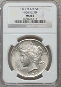 Peace Dollars: , 1921 $1 MS64 NGC. NGC Census: (3389/1244). PCGS Population(3768/1365). Mintage: 1,006,473. Numismedia Wsl. Price for probl...