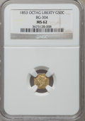California Fractional Gold: , 1853 50C Liberty Octagonal 50 Cents, BG-304, Low R.5, MS62 NGC. NGCCensus: (5/2). PCGS Population (15/16). ...