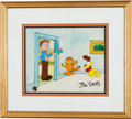 Animation Art:Production Cel, Garfield and Friends Production Cel Set-Up and BackgroundAnimation Art Signed by Jim Davis (Film Roman, 1988)....