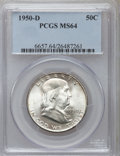 Franklin Half Dollars: , 1950-D 50C MS64 PCGS. PCGS Population (795/126). NGC Census:(580/211). Mintage: 8,031,600. Numismedia Wsl. Price for probl...