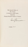 Books:Biography & Memoir, Harry S. Truman. Mr. Citizen. [New York]: Bernard GeisAssociates / Random House, 1960. Limited signed edition...