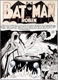 "Original Comic Art:Splash Pages, Bob Kane, Jerry Robinson, and George Roussos Batman #9 ""The Four Fates"" Title Page 1 Original Art (DC, 1942)...."