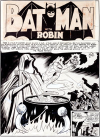 "Bob Kane, Jerry Robinson, and George Roussos Batman #9 ""The Four Fates"" Title Page 1 Original Art (DC, 1942)..."