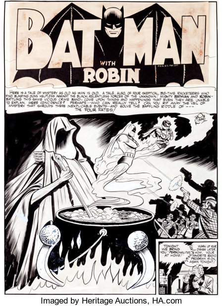 "Bob Kane, Jerry Robinson, and George Roussos Batman #9 ""The Four Fates"" Title Page 1 Original Art (DC, 1942)...."