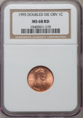 Lincoln Cents: , 1995 1C Doubled Die Obverse MS68 Red NGC. NGC Census: (6213/38).PCGS Population (2662/1). Numismedia Wsl. Price for probl...