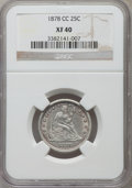 Seated Quarters: , 1878-CC 25C XF40 NGC. NGC Census: (7/216). PCGS Population(14/256). Mintage: 996,000. Numismedia Wsl. Price for problem fr...
