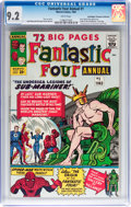Silver Age (1956-1969):Superhero, Fantastic Four Annual #1 Don/Maggie Thompson Collection pedigree (Marvel, 1963) CGC NM- 9.2 White pages....