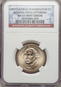 Presidential Dollars, (3)2007 $1 George Washington Missing Edge Lettering MS65 NGC....(Total: 3 coins)