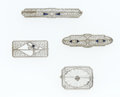 Estate Jewelry:Brooches - Pins, Diamond, Synthetic Sapphire, White Gold Brooches. ... (Total: 4Items)