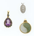 Estate Jewelry:Pendants and Lockets, Multi-Stone, Diamond, Gold Pendants. ... (Total: 3 Items)