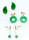 Estate Jewelry:Earrings, Jadeite Jade, Metal, Gold Earrings. ... (Total: 3 Items)