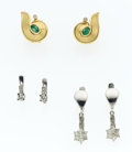 Estate Jewelry:Earrings, Emerald, Diamond, Gold Earring Lot. ... (Total: 3 Items)