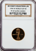 Modern Issues: , 1994-W G$5 World Cup Gold Five Dollar PR69 Ultra Cameo NGC. NGC Census: (1428/641). PCGS Population (3547/108). Mintage: 89...
