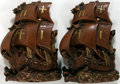 """Books:Furniture & Accessories, [Bookends]. Pair of Molded Bookends Depicting Sailing Ships.Approximately 7"""" x 4"""" x 9"""". Painted to resemble carved wood. Fe...(Total: 2 Items)"""
