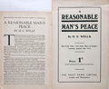 Books:Pamphlets & Tracts, H.G. Wells. Group of Two Pamphlets of A Reasonable Man's Peace. Reprinted from The Daily News and Leader, Au...