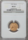 Indian Quarter Eagles: , 1915 $2 1/2 MS63 NGC. NGC Census: (1706/1455). PCGS Population(1097/920). Mintage: 606,000. Numismedia Wsl. Price for prob...