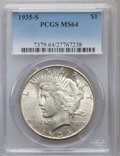 Peace Dollars: , 1935-S $1 MS64 PCGS. PCGS Population (1396/774). NGC Census:(894/484). Mintage: 1,964,000. Numismedia Wsl. Price for probl...