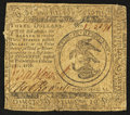 Colonial Notes:Continental Congress Issues, Continental Currency February 17, 1776 $3 Fine-Very Fine.. ...
