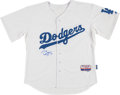 Baseball Collectibles:Uniforms, Darryl Strawberry Signed Los Angeles Dodgers Jersey....