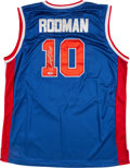 Basketball Collectibles:Uniforms, Dennis Rodman Signed Detroit Pistons Jersey....