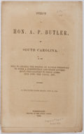 Books:Americana & American History, [Kansas Statehood]. A. P. Butler. Speech of Hon. A. P. Butler,of South Carolina on the Bill to Enable the People of Kan...