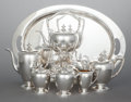Silver Holloware, American:Coffee Pots, A SEVEN PIECE DOMINICK & HAFF SILVER TEA AND COFFEE SERVICE .Dominick & Haff, New York, New York, circa 1939. Marks tocoff... (Total: 7 Items)