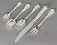 A FIFTY-NINE PIECE FRENCH SILVER-PLATED FLATWARE SERVICE, Emile Puiforcat, Paris, France, 20th century Marks: (E-f
