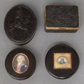 Decorative Arts, Continental, FOUR CONTINENTAL TORTOISESHELL LIDDED BOXES. 19th century. 1-1/2 x3-1/4 x 2-3/8 inches (3.8 x 8.3 x 6.0 cm) (rectangular ex...(Total: 4 Items)