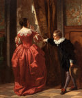 Fine Art - Painting, European:Antique  (Pre 1900), CARL LUDWIG FRIEDRICH BECKER (German, 1820-1900). The Paige(Behind the Curtain), 1857. Oil on canvas. 28-3/4 x 24-5/8 i...