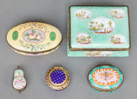 FIVE ENGLISH ENAMELED METAL LIDDED BOXES 19th century 1-1/2 x 3-3/8 x 2-3/8 inches (3.8 x 8.6 x 6.0 cm)