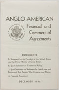 Books:Americana & American History, [US Foreign Policy]. Anglo-American Financial and CommercialAgreements, December 1945. Department of State, [1945]....